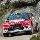 Between a rock and a hard place: Kris Meeke on his way to victory in Portugal