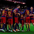 MADRID, SPAIN - MAY 22: Barcelona players celebrate after scoring their 2nd goal during the Copa del Rey Final between Barcelona and Sevilla at Vicente Calderon Stadium on May 22, 2016 in Madrid, Spain. (Photo by Denis Doyle/Getty Images)