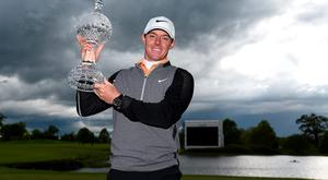 Rory McIlroy of Northern Ireland poses with the trophy following his three shot victory during the final round of the Dubai Duty Free Irish Open Hosted by the Rory Foundation at The K Club on May 22, 2016 in Straffan, Ireland. (Photo by Ross Kinnaird/Getty Images)