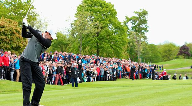 STRAFFAN, IRELAND - MAY 22: Rory McIlroy of Northern Ireland hits his tee-shot on the 12th hole during the final round of the Dubai Duty Free Irish Open Hosted by the Rory Foundation at The K Club on May 22, 2016 in Straffan, Ireland. (Photo by Andrew Redington/Getty Images)