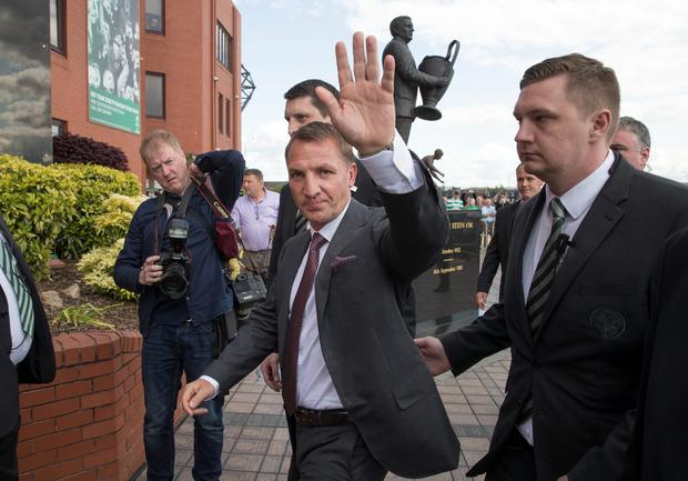 Celtic Football Club unveil their new manager Brendan Rodgers at Celtic Park Glasgow on May 23, 2016 in Glasgow, Scotland. (Photo by Steve Welsh/Getty Images)