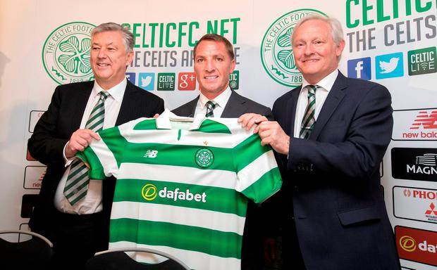 GLASGOW, SCOTLAND - MAY 23: (L-R) Peter Lawwell Chief Executive, Brendan Rodgers and Celtic Chairman Iain Bankier during the unveiling of new Manager, Brendan Rodgers at Celtic Park Glasgow on May 23, 2016 in Glasgow, Scotland. (Photo by Steve Welsh/Getty Images)