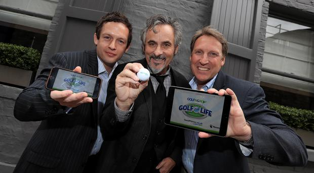 Swing David: GolfNow Ambassador David Feherty with GolfNow's Chris Knipe and Dan Higgins