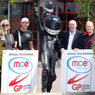 UGP boost: Top road racers Maria Costello and Peter Hickman join MCE Insurance's Big Ed and Ken Stewart and Noel Johnston of the Dundrod and District Motorcycle Club to announce the company's title sponsorship of the Ulster Grand Prix