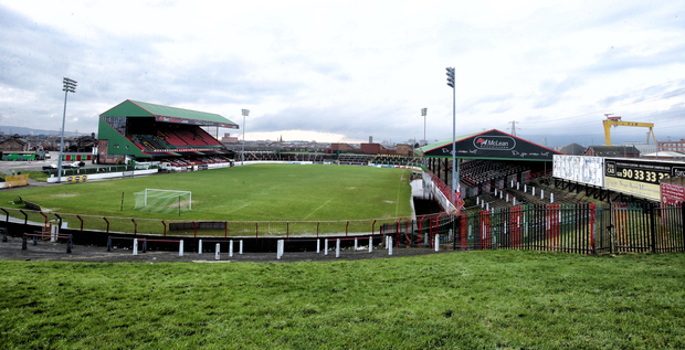 Breaking new ground: Glentoran's Oval is set to be redeveloped into a £9.2million 8,000 capacity stadium after years of false dawns