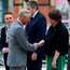 The Prince of Wales shakes hands with Northern Ireland First Minister Arlene Foster as he arrives at the Northern Ireland Science Park, where he officially launched Queen's University's Global Research Institute