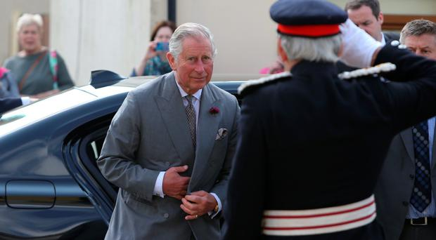 The Prince of Wales is greeted by Lord Lieutenant for County Down David Lindsay as he visits the Portico Arts Centre in Portaferry, Northern Ireland. PRESS ASSOCIATION Photo. Picture date: Tuesday May 24, 2016. The Grade A listed building, formerly Portaferry Presbyterian Church, has undergone a £1.5m restoration to create an arts and heritage centre used by all sections of the community. See PA story ULSTER Charles. Photo credit should read: Brian Lawless/PA Wire