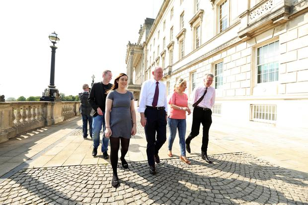 Deputy First Minister Martin McGuinness is pictured at Parliament Buildings, Stormont with his new Ministerial team Chris Hazzard, Meagan Fearon, Michelle O'Neill and Mairtin O'Muilleoir. Photo by Kelvin Boyes / Press Eye.