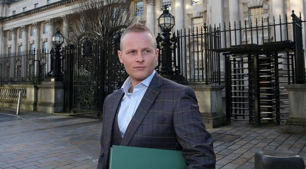 Jamie Bryson challenging public processions act in court appeal Photograph By Declan Roughan