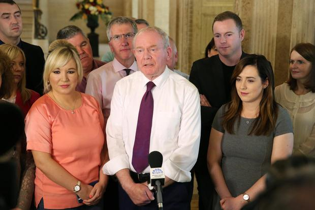 Deputy First Minister Martin McGuinness pictured at Parliament Buildings, Stormont with his new Ministerial team Chris Hazzard, Meagan Fearon, Michelle O'Neill and Máirtín Ó Muilleoir. Photo by Kelvin Boyes / Press Eye.