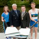 Oar we go: Pictured at the launch of the 2016 University Boat Race at Queen's University Belfast's new £1.2m Boathouse Facility on the River Lagan are Deputy Lord Mayor of Belfast Alderman Guy Spence, Ellie Holmes, Queen's Senior Ladies Captain and Jason Armstrong, Queen's Senior Men's Captain, along with Des Hill, Past President of Trinity Rowing Club