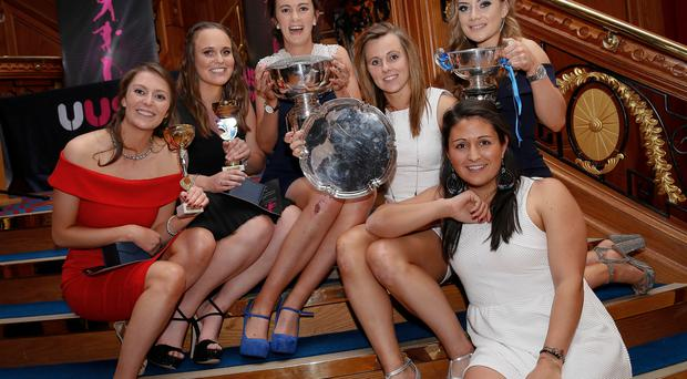 What a night: (from left) Ulster Elks players Emily O'Leary, Victoria McMaw, Rebecca Barry, Megan Frazer, Chloe Mitchell and Anna Kazniuk at Ulster University Colours Sports Awards gala bash at the Titanic Centre