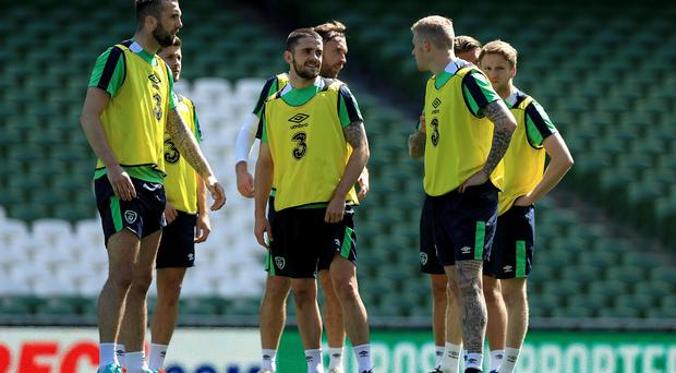 Gearing up: Shane Duffy, Robbie Brady and James McClean in Republic of Ireland training ahead of the upcoming clash against Holland
