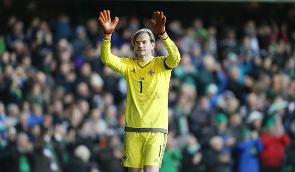 On the plane: Roy Carroll will go to the Euro finals as a Linfield player