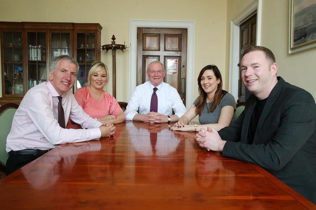 Deputy First Minister Martin McGuinness at Parliament Buildings with his new ministerial team Mairtin O Muilleoir, Michelle O'Neill, Meagan Fearon and Chris Hazzard
