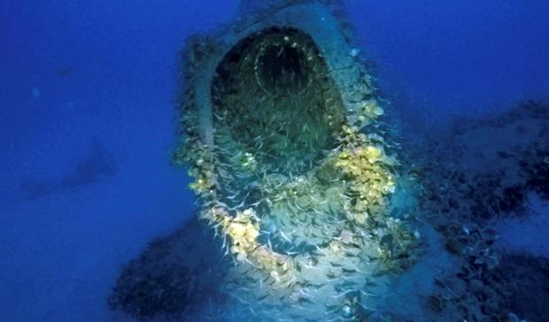 Partial view of a British submarine downed off Sardinia during World War II. An Italian diver claims to have located the long-lost wreck of the British submarine HMS P311 that was downed off Sardinia during World War II. Diver Massimo Bondone told the La Nuova Sardegna daily that he found the P311 at a depth of 80 meters (262 feet) off the isle of Tavolara during a dive. (Massimo Bondone via AP)