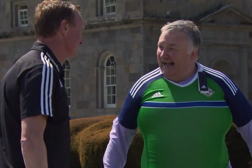 Michael O'Neill presented Stephen Nolan with a Northern Ireland shirt