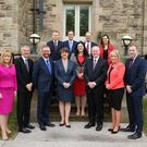First Minister Arlene Foster and deputy First Minister Martin McGuinness are pictured with Executive colleagues ahead of the first Executive meeting today at Stormont Castle. Pictured left to right: Michelle McIlveen, Minister of Agriculture, Environment and Rural Affairs; Mairtin O Muilleoir, Minister of Finance; Simon Hamilton, Minister for the Economy; Alastair Ross, Junior Minister; Paul Givan, Minister for Communities; Claire Sugden, Minister of Justice; Peter Weir, Minister of Education; Meagan Fearon, Junior Minister; Michelle O'Neill, Minister of Health and Chris Hazzard, Minister for Infrastructure. Photo by Kelvin Boyes / Press Eye.