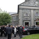 Hundreds of people attend the funeral of hair stylist David Aumonier in Bangor. Pic by Peter Morrison