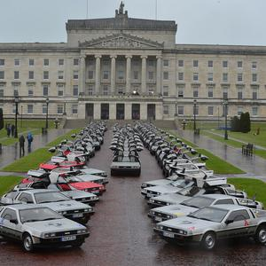 Pacemaker Press Belfast 25-05-2016: DeLorean World Tour cars pictured at Stormont in Belfast. Probably the largest gathering of DeLoreans in the world will be occurring this May in Belfast. The DeLorean Owners Association has organised Eurofest event, May 26-29th 2016. Picture By: Arthur Allison/Pacemaker.