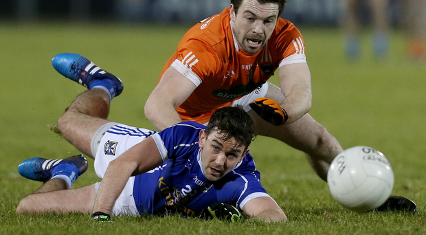 Second chance: Armagh's Aidan Forker (right) will be hoping they can get revenge for the league defeat to Cavan and Padraig Faulkner (left)