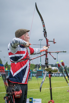 Eagle eye: Patrick Huston on target at the Europeans in Nottingham