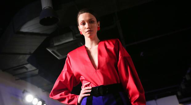 Pictured is the Ulster University fashion graduate catwalk show with models from CMPR showcasing the latest collections from the talented fashion students on May 26 2016 in the Europa Hotel , Belfast , Northern Ireland ( Photo by Kevin Scott / Presseye)