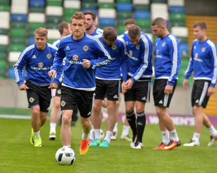 Finals farewell: Steve Davis training ahead of tonight's friendly against Belarus, the last at Windsor Park before Northern Ireland head to France