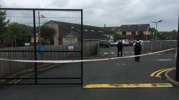 Police at the scene of the Kilmaine Primary School alert. Pic BBC