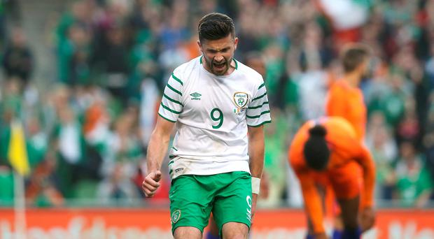 Republic of Ireland's Shane Long celebrates scoring his side's first goal during the International Friendly at the Aviva Stadium, Dublin, Ireland.