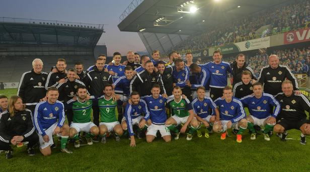 Northern Ireland players celebrate the final Windsor park home game before the Euro finals. Photo Colm Lenaghan/Pacemaker Press