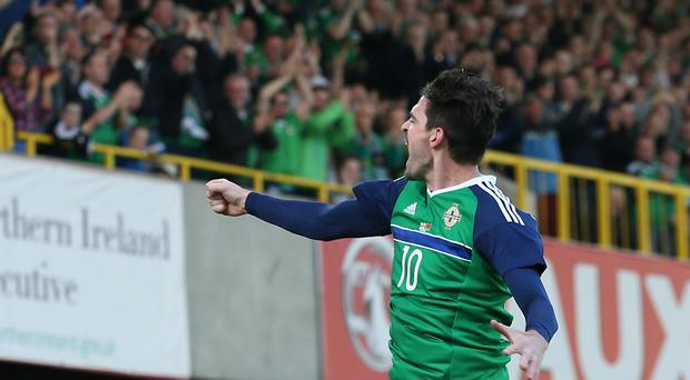 Kyle Lafferty celebrates his goal against Belarus