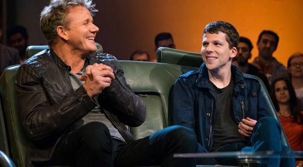 Chef Gordon Ramsay and Actor Jesse Eisenberg on the Chris Evans verison of Top Gear Image captured from the twitter feed of @GordonRamsey 29 May 2016