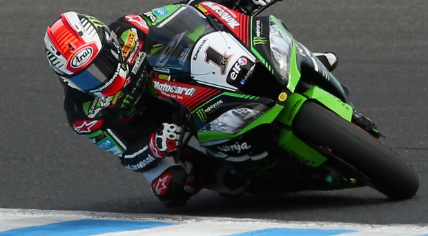 Out in front: Jonathan Rea extended his World Superbike championship lead with third and second-place finishes at Donington Park