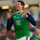 Smiles better: Kyle Lafferty enjoys the Euro 2016 send-off at Windsor Park
