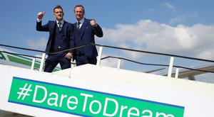 Press Eye - Belfast - Northern Ireland - 30th May 2016 - Members of the Northern Ireland football squad join Manager Michael OÕNeill and Captain Steve Davis as they leave Northern Ireland from George Best Belfast City Airport to take part in a training camp in Austria in advance of the 2016 Euros. Picture by Kelvin Boyes / Press Eye.