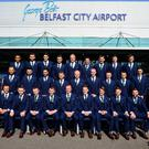The Northern Ireland football squad with manager Michael ONeill before leaving for the Euro Finals.