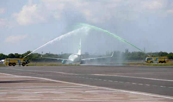 George Best Belfast City Airport provide a water cannon spray as members of the Northern Ireland football squad join Manager Michael O'Neill as they leave Northern Ireland to take part in a training camp in Austria in advance of the 2016 Euros. Press Eye - Belfast - Northern Ireland - 30th May 2016 - Photo by William Cherry