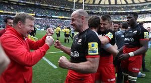 Glory days: Ulsterman Mark McCall celebrates with Charlie Hodgson after leading his Saracens team to the Aviva Premiership title to add to their European Champions Cup success earlier in the season