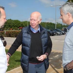 Welcome: Jose Mourinho with Ed Woodward and Bobby Charlton