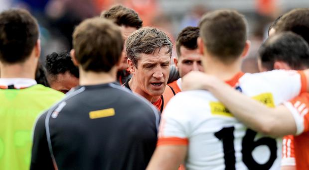 Walkover: Armagh boss Kieran McGeeney after his side's heavy defeat to Cavan
