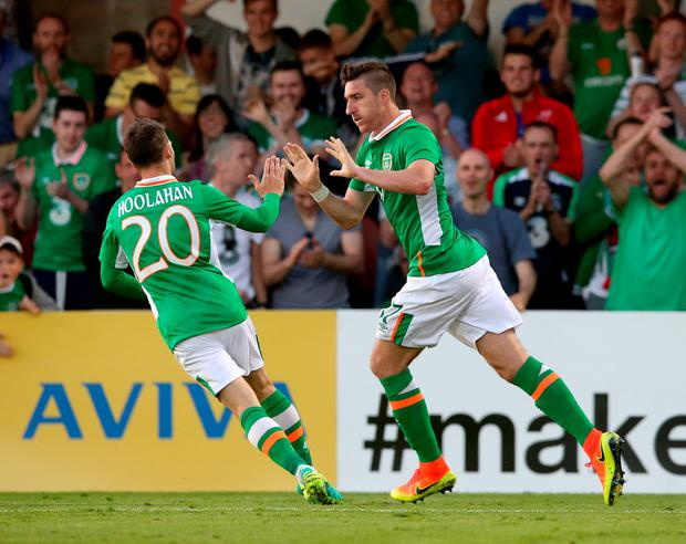 Republic of Ireland's Stephen Ward (right) celebrates scoring his side's first goal of the game with teammate Wes Hoolahan during the International Friendly match at Turners Cross, Cork. PA