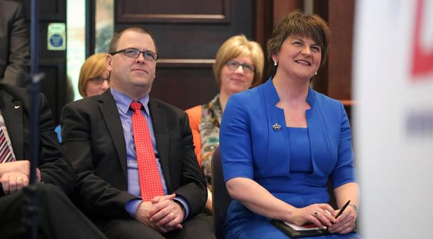 Raymond Farrell with Arlene Foster and, left, UUP leader Mike Nesbitt