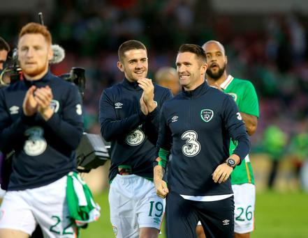 Made the grade: Republic of Ireland captain and record goalscorer Robbie Keane was all smiles having been named in Martin O'Neill's squad for Euro 2016, despite missing last night's defeat to Belarus and the weekend friendly with Holland through injury