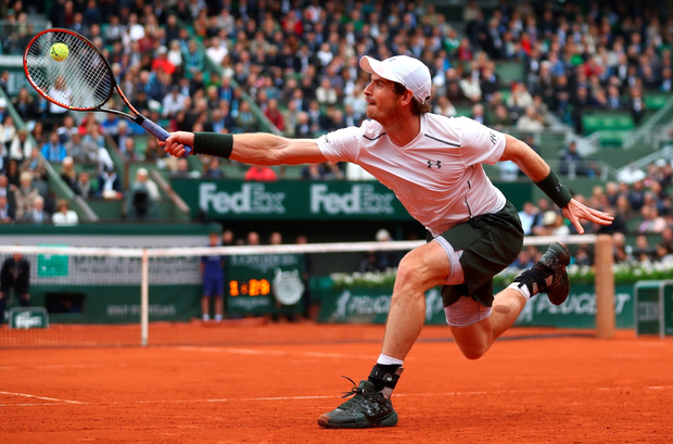 Andy Murray of Great Britain hits a backhand during the Men's Singles quarter final match against Richard Gasquet of France on day eleven of the 2016 French Open at Roland Garros on June 1, 2016 in Paris, France. (Photo by Julian Finney/Getty Images)