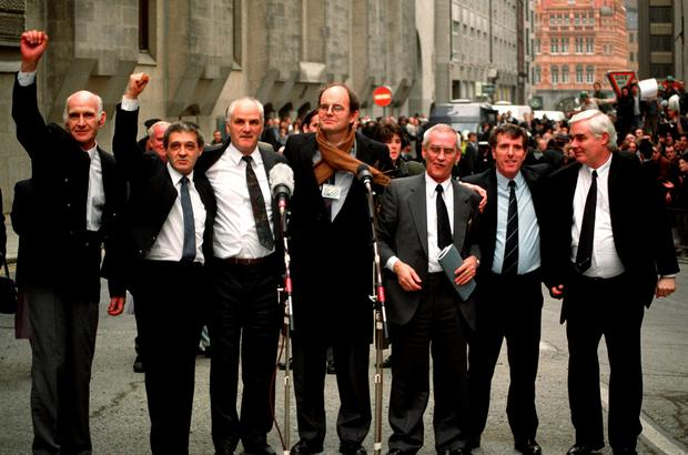 File photo dated 14/03/91 of the Birmingham Six outside the Old Bailey in London, after their convictions were quashed. (Left to right) John Walker, Paddy Hill, Hugh Callaghan, Chris Mullen MP, Richard McIlkenny, Gerry Hunter and William Power. PA