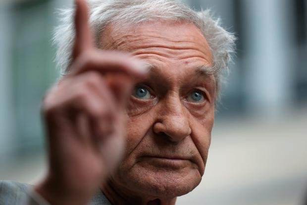 Paddy Hill, one of the Birmingham Six who was wrongly convicted of the Birmingham pub bombings, speaks to the media outside Solihull Civic Suite on June 1, 2016 in Birmingham, England. (Photo by Christopher Furlong/Getty Images)