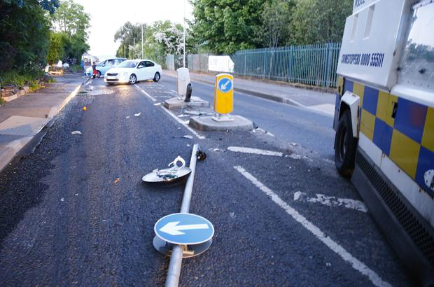Scene of the crash on the Glen Road in Belfast ( Photo by Kevin Scott / Presseye)