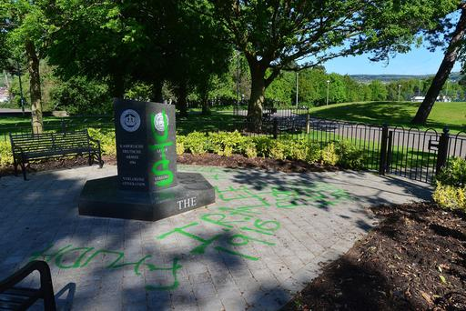 Woodvale Park where a World War 1 memorial has been vandalised with spray paint. Picture By: Arthur Allison/ Pacemaker Press