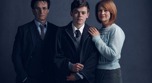 Jamie Parker, Sam Clemmett and Poppy Miller who will play Harry Potter, Albus Potter and Ginny Potter respectively in the Harry Potter And The Cursed Child stage play. Charlie Gray/PA Wire